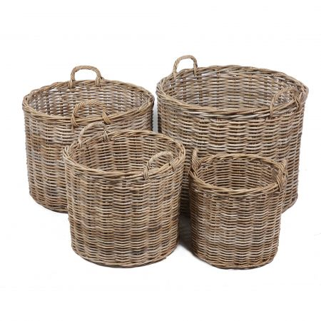 Wicker Mix Set Of 4 Round Wicker Baskets With Ear Handles Natural