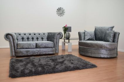 Chesterfield Velvet 2 Seater Sofa & Cuddle Chair - Silver