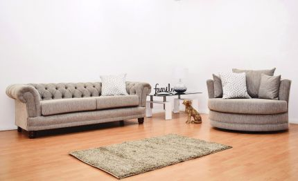 Chesterfield Fabric 3 Seater Sofa & Cuddle Chair - Biscuit Brown