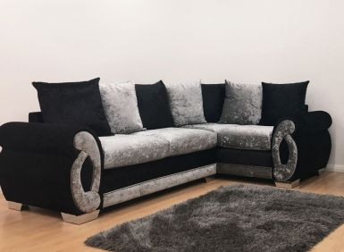 Chloe Double Arm Corner Sofa - Black & Silver