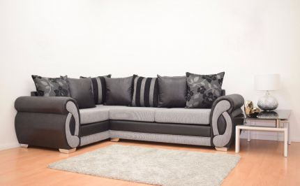 Chloe Fabric Double Arm Corner Sofa - Black & Grey