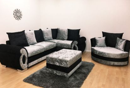 Chloe Double Arm Corner Sofa & Cuddle Chair with Footstool - Black & Silver Velvet
