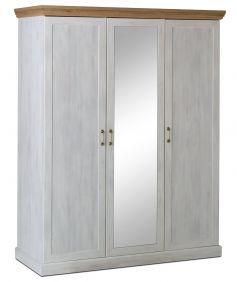 Devonshire 3 Door Mirrored Wardrobe - White Ash & Oak