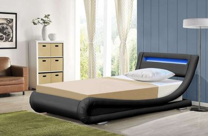 Rio LED Single Leather Bed Frame