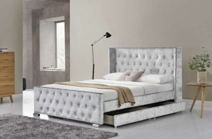 Elizabeth 4 Drawer Wingback Velvet Bed Frame
