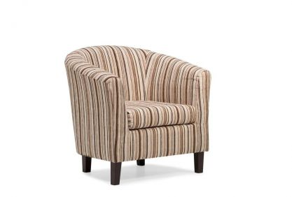Dorset Stripe Tub Chair - Chocolate