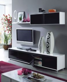 Adila Black and White Gloss TV Complete Wall Cabinet - 2456