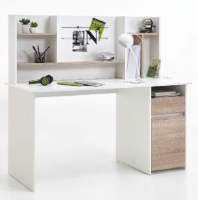 Alto White and Oak Desk with Hutch - 2672