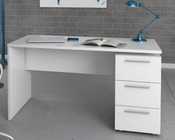 Amur White Gloss Computer Office Desk Table - 2614