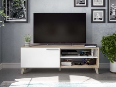 Anna White and Oak Effect TV Cabinet - 2714