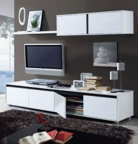 Arua White Gloss TV Complete Wall Cabinet - 2455
