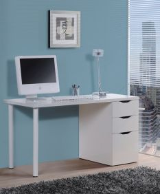 Blanco White Gloss Desk With 3 Drawers - 2490