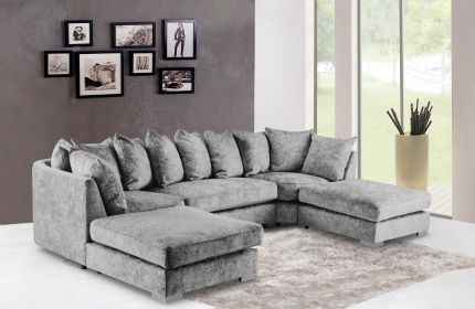 Brixton Large Corner U Shape Sofa Chenille Fabric with 2 removable footstools