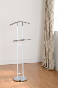 Gila Valet Stand in White Gloss & Chrome