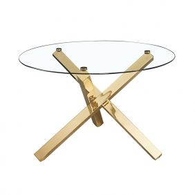 Lichfield Dining Table Glass Top With Gold Legs