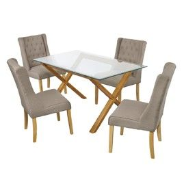 Lichfield Dining Table Oak with Glass Top