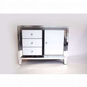 Atlanta White Glass 3 Drawer Cupboard