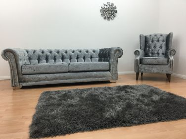 Chesterfield 3 Seater Sofa & Wingback Chair - Silver