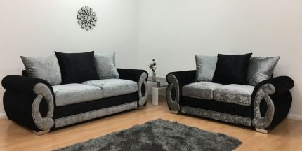 Chloe 3 & 2 Seater Sofa - Black & Silver