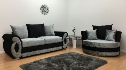 Chloe 3 Seater Sofa & Cuddle Chair - Black & Silver