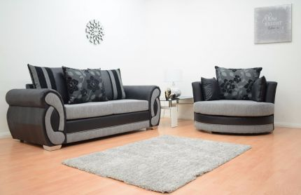 Chloe 3 Seater Fabric Sofa & Cuddle Chair - Black & Grey