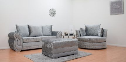 Chloe 3 Seater Sofa & Cuddle Chair with Footstool - Silver