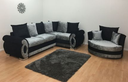 Chloe Double Arm Corner Sofa & Cuddle Chair - Black & Silver