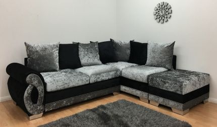 Chloe One Arm Corner Sofa - Black & Silver