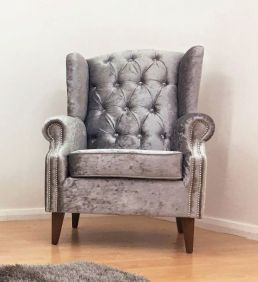 Chesterfield Crushed Velvet Winged Chair - Silver