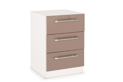 Connect Camden 3 Drawer Bedside Cabinet - High Gloss Mocha