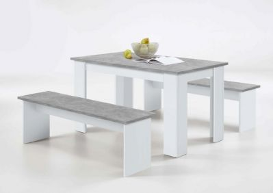 Danto White & Concrete Grey Dining Table With Bench Seats - 2692