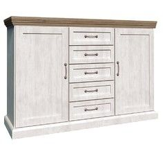 Devonshire 2 Door 5 Drawer Sideboard - White Ash & Oak