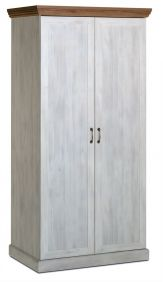 Devonshire 2 Door Wardrobe - White Ash & Oak