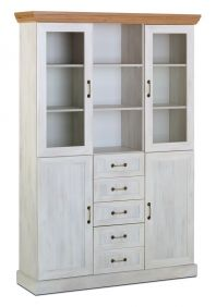 Devonshire 3 Bay Glass Display Unit With Drawers - White Ash & Oak