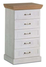 Devonshire 5 Drawer Tall Narrow Chest - White Ash & Oak