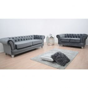 Chesterfield French Velvet 3 & 2 Seater Sofa - Dusk
