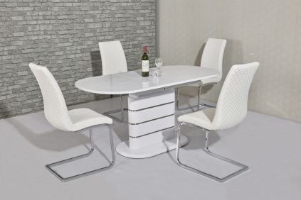 Themi White Extending Dining Table & Klessie 4 Chairs Set