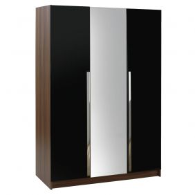 Las Vegas 3 Door Wardrobe - Walnut & High Gloss Black