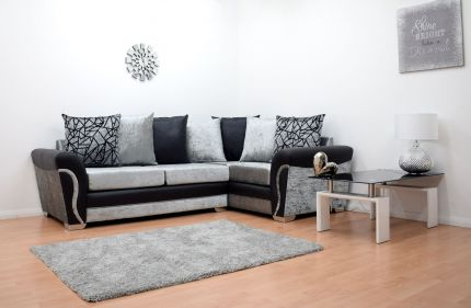 Lexi Velvet Double Arm Corner Sofa - Black & Silver