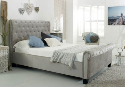 Kola Upholstered Sleigh Fabric Bed Silver