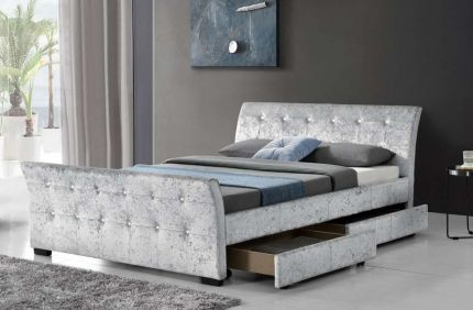 Madrid Sleigh 4 Drawer Velvet Bed Frame