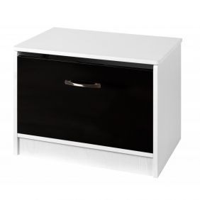 Marina Black Gloss & White Ottoman Storage