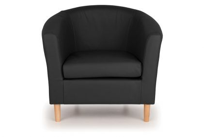 Nicole Faux Leather Tub Chair - Black