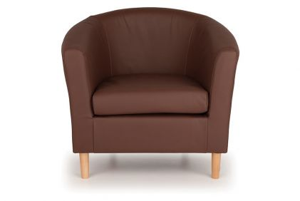 Nicole Faux Leather Tub Chair - Brown