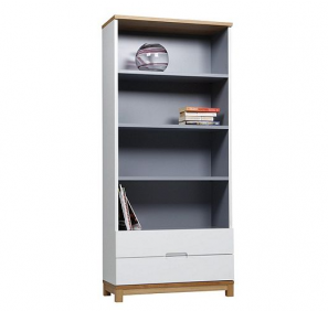 Oslo 2 Drawer Tall Storage Unit Bookcase Display Cupboard - Grey & White