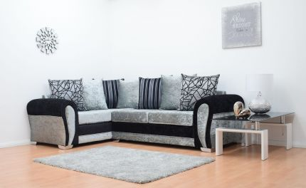 Paris Velvet Double Arm Corner Sofa - Black & Silver