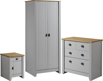 Louis Trio Set in Grey & Oak Bedroom Sets