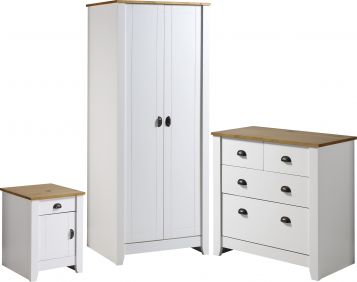 Louis Trio Set in White & Oak Bedroom Sets