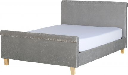 Mercer Double Sleigh Bed High Foot End in Grey Crushed Velvet