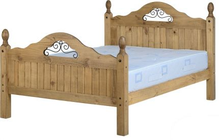 Darwin Scroll Double Bed High Foot End in Pine